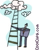 Vector Clipart image  of a Businessman climbing a ladder
