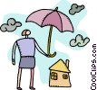 Woman sheltering house with umbrella Vector Clipart graphic