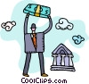 Vector Clip Art image  of a man with bundle of money and