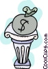 Vector Clip Art graphic  of a Money bag on pedestal