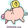 Vector Clipart picture  of a Change and piggy bank