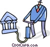 Businessman pumping up bank symbol Vector Clip Art graphic