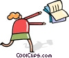 Vector Clipart image  of a Woman chasing flying book