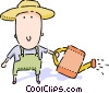 Farmer with watering can Vector Clipart picture