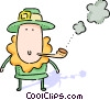 Man on St. Patrick's day smoking a pipe Vector Clip Art graphic