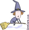 Witch flying on her broom Vector Clipart illustration