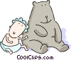Baby with large teddy bear Vector Clip Art graphic