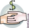 Vector Clipart image  of a Dollar sign and a hand shake