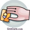 Hand and credit card Vector Clip Art picture