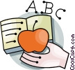 Hand with school book and teachers apple Vector Clipart picture