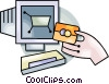 Vector Clip Art image  of a on line shopping
