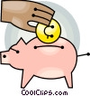 Vector Clipart graphic  of a Hand putting change into piggy