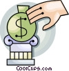 Hand with money bag on top of a pedestal Vector Clipart picture