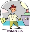 Man with luggage about to board Cruise Ship Vector Clipart illustration