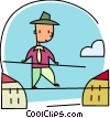 Businessman walking the tight rope Vector Clip Art picture