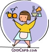 Waitress serving food Vector Clip Art picture