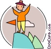 Man at peak of mountain Vector Clip Art picture
