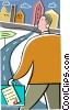 Businessman going to the city Vector Clip Art picture