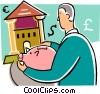 Man bringing his savings to the bank Vector Clip Art image
