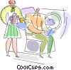 Passenger on a airplane being served drinks Vector Clip Art picture