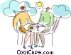 Couple enjoying out door bistro Vector Clip Art image