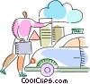 Vector Clip Art graphic  of a Taxis
