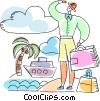 Man on the beach with his luggage Vector Clipart illustration