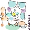 Cat sleeping in kitchenette with hot cup of coffee Vector Clip Art graphic