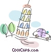 Leaning Tower of Pisa with car driving by Vector Clip Art picture