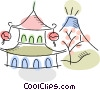 Japanese temple and mountain Vector Clip Art picture