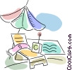 Vector Clip Art image  of a Deck Chairs and Beach Equipment