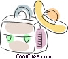 Luggage and sun hat Vector Clip Art graphic