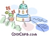 Church with stairs and potted plant by the ocean Vector Clipart illustration
