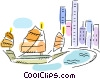 Chinese fishing boat in harbor with cityscape Vector Clipart illustration
