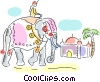 Hindu man on decorated elephant Vector Clip Art picture