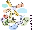 Dutch Windmill with tulips Vector Clipart illustration