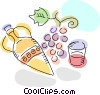 Wine jug with grapes and wine glass Vector Clip Art image