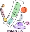 Japanese writing with cup of tea Vector Clipart picture