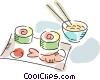 Japanese sushi with shrimp and rice Vector Clip Art image