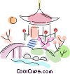 Japanese garden with bridge and hut Vector Clipart illustration