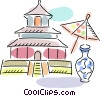 Japanese temple with umbrella and vase Vector Clipart image
