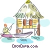 Native paddling in boat to hut Vector Clip Art picture