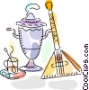 Balalaika with teapot and cup of tea Vector Clipart illustration