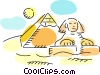 Chephren with pyramid and sun Vector Clip Art image