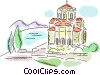 Vector Clip Art image  of a Churches