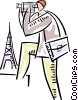 Man with video camera in Paris Vector Clip Art graphic