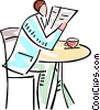 man reading newspaper and having coffee Vector Clip Art picture