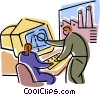 Vector Clipart graphic  of a man and woman reviewing design