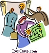 man and woman coming up with an idea Vector Clipart illustration