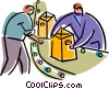People working on the Assembly Line Vector Clipart illustration